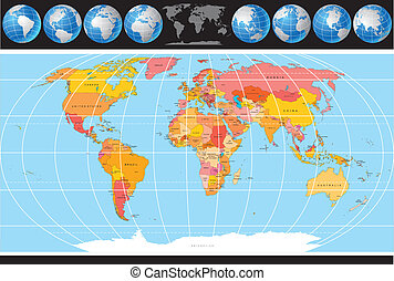 Vector World Map with set of Globes, Map include all...
