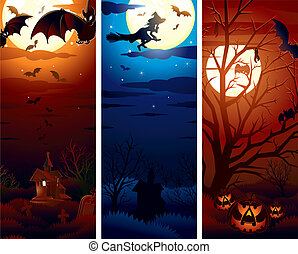 Vertical Halloween Banners - Halloween theme illustrations...