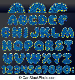 Denim Patch Font - Denim Patch Letters and Numbers, Vector...