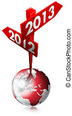 2012-2013 Red Sign - Red Sign with two arrows and written...