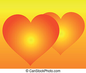two hearts on an orange background