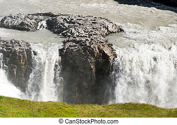 waterfall in Iceland - wonderful Gulfoss waterfall in...