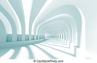 3d Illustration of Blue Abstract Architecture Background