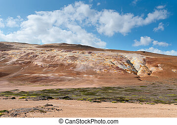 Namafjall in Iceland - sulfur Mountain in Namafjall in...