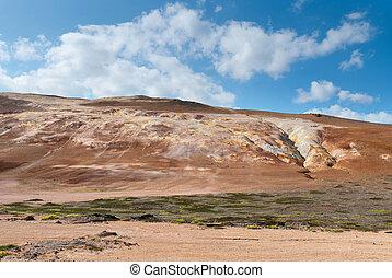 Namafjall in Iceland - sulfur Mountain in Namafjall in...
