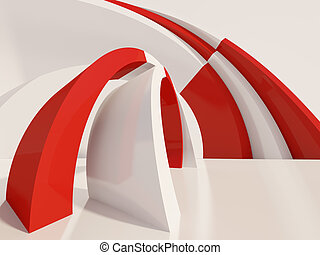 Abstract Architecture Background - 3d Illustration of Red...