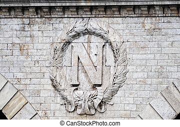 High Relief - Insignia by Napoleon on the wall of Parisian...