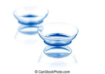 Contact lenses - Two contact lenses with reflections,...