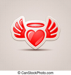 Heart with wings, the icon for your design