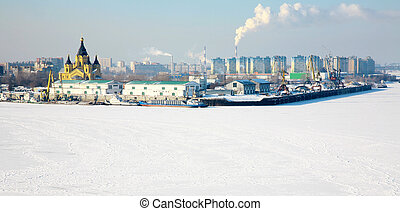 Port Strelka on confluence two rivers in Nizhny Novgorod