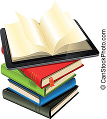 Tablet PC On A Book Pile - Illustration of a tablet pc...