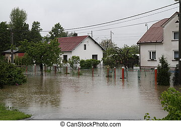 Flooded house in north-east of Czech republic. Name of the...