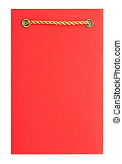 Greeting card on red paper with gold rope