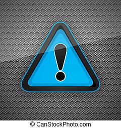 Hazard warning attention symbol on a dark gray metal surface