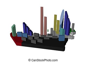 abstract skyscrapers on UAE map flag illustration
