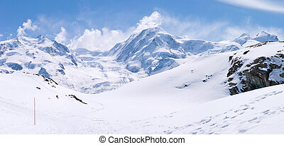 Snow Mountain Range Landscape - Panorama of Snow Mountain...