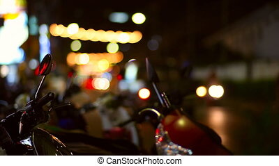 City lights. - Night life of Thailand city. Blurred lights,...