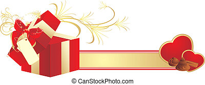 Decorative red box and hearts with candies. Vector...