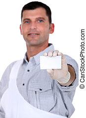 Painter with blank business card