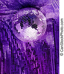 Total disco experience - Purple disco mirror ball reflect...