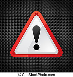 Hazard warning attention symbol on a metal surface, 10eps