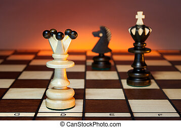 Political balance - Chess (queen, king and a horse) on a...