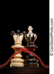 Eternal love - Chess (king and queen) on a chess board. An...