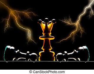 The sovereign - Chessmen on a chess board. A dark background...