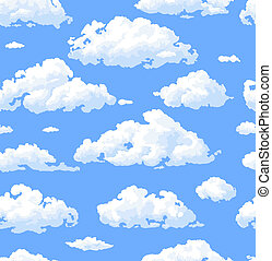 Clouds - seamless pattern with white clouds