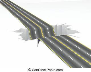 Hole on the road. Concept image. 3d