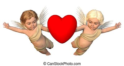 Winged Cherubs with Red Heart - Two winged cherubs carrying...