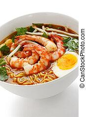 prawn mee, prawn noodles, on a white background