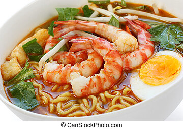 prawn mee, prawn noodles, on a white background
