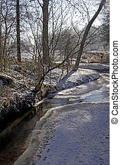 Little brook in winter, Germany - Little brook in winter,...