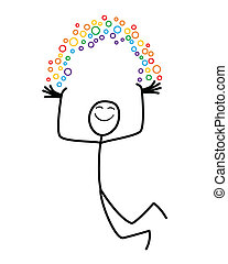 Rainbow man - A happy cartoon man holds his own rainbow
