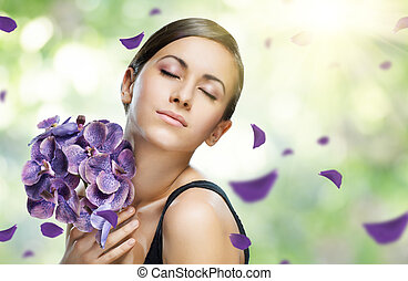 flower girl - beauty flower girl on the blurry background