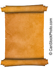 Scroll of antique parchment - Scroll on a white background