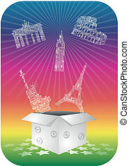 Landmarks box - illustration of open box with landmarks