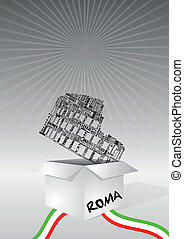 box colosseo - illustration of open box with colosseum