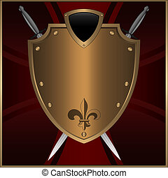 Golden shield. - Golden shield with swords on a maltese...