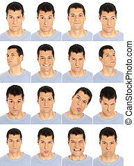 Adult man face expressions composite isolated on white...