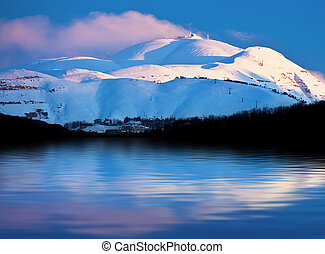 Winter mountains and lake snowy landscape - Winter landscape...