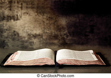 Open Bible, with textured granite background