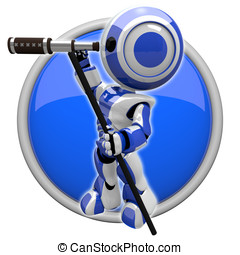 Cute Blue Robot Scout with Telescope - Robot with telescope,...