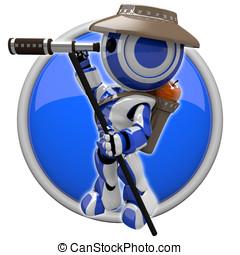 Cute Blue Robot Hiker Explorer - Cute blue robot hiker and...