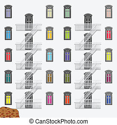 emergency exit ladder, abstract vector art illustration
