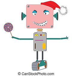 ugly robot laughing, with wind mill toy; abstract vector art...