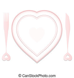 valentine plate and dishes in heart shapes against white...
