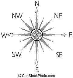 wind rose compass silhouette