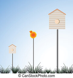 bird houses and grass, abstract vector art illustration;...